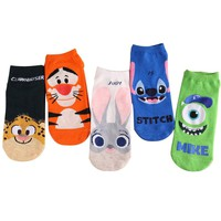 3 Pairs Women Socks Cartoon Stitch And Jumping Tiger Characters Female Socks Cotton Cute Float Ladies Shaping Breathable Sock