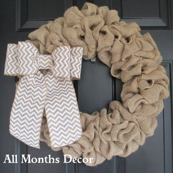 Natural Burlap Wreath with Chevron Burlap Bow, Country, Rustic, Door Porch, Spring Easter Fall Winter, Holiday, Year Round