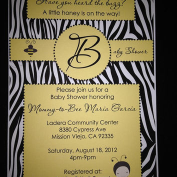 25 Bumble Bee Baby Boy white & Black Zebra Baby Shower  Invitation