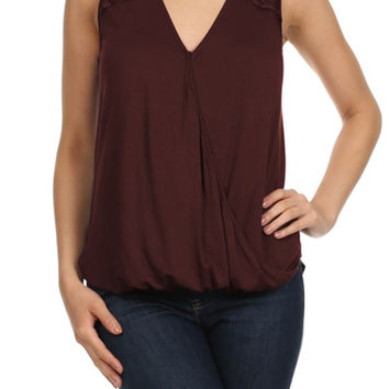 Sleeveless V-Neck Blouse W/ Lace Back Yoke