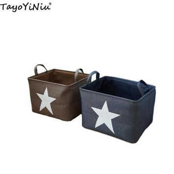 Canvas Fabric Laundry Basket Handle Stackable Cotton&Linen Clothes Storage Case Large Capacity Storage Basket for Toys