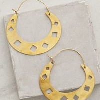 Diamond Punched Hoops by Wendy Mink Gold One Size Jewelry