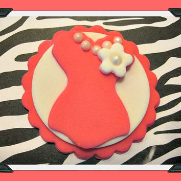 Sassy Hot Pink Corset, Sugar Pearls, Fondant Cupcake Toppers. Set of 12 (1 dozen)