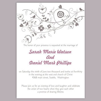 DIY Wedding Invitation Template Editable Word File Instant Download Printable Gray Invitation Floral Wedding Invitation Bird Invitation