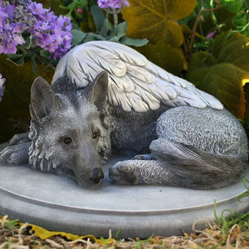 "German Shepherd Angel Dog Statue - ""Forever My Guardian Angel"""