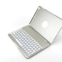 F8S Bluetooth Keyboard Case Cover for iPad Air and iPad 5 -Sliver #A21001