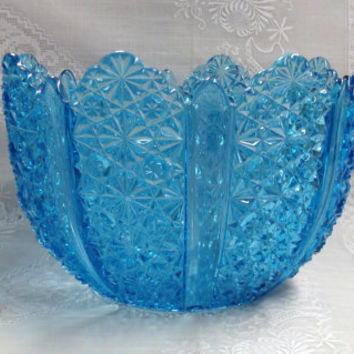 Blue Glass Daisy and Button Bowl  George Duncan & Sons Ellrose EAPG