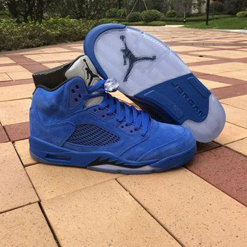 2017 Air Jordan Retro 5 5S Blue Suede raging bulls Anger Men Basketball Shoes With Silver Gray 3M Reflective Tongue 136027-401