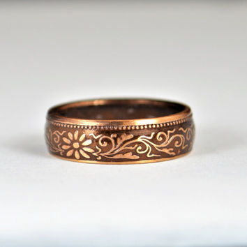 Japanese Ring, Brown Ring, Japanese Coin Ring, Coin Ring, Bronze Ring, Japanese Coin, Japanese Jewelry, Coin Ring, Japanese Art, Coin Art