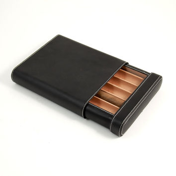 Five Cigar Case w/ Cedar lining, Black Leather, T.P.