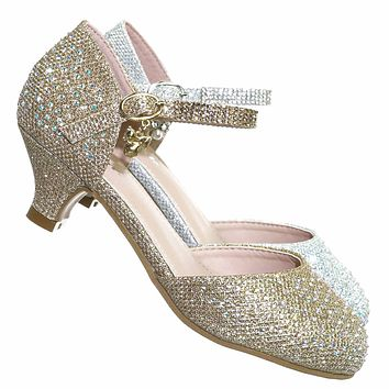 Jemma06K Children Rhinestone Mary Jane Pump - Kids Girls Open Shank Low Heels