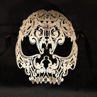 Skull venetian mask white in metal luxury maskhalloween by Cocone