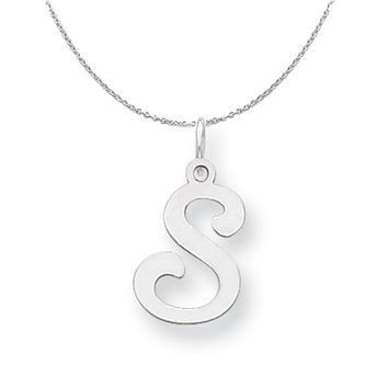Sterling Silver, Sophia Collection, Small Script Initial S Necklace