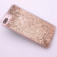 LV & Supreme New iPhone8 Mobile Shell 7plus Beads Soft Edge Diamond Phone Case F0287-1 Gold
