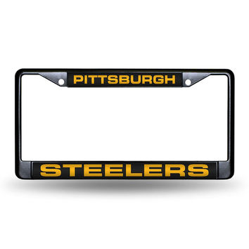 Pittsburgh Steelers NFL Black Chrome Laser Cut License Plate Frame