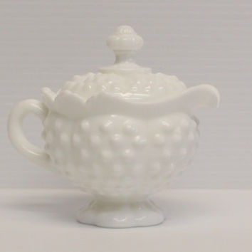 FENTON HOBNAIL CREAMER with Lid, White hobnail, White Fenton china, Vintage china, Collectible fenton, collectible hobnail, milk glass
