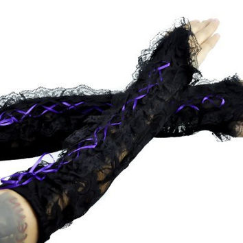 Purple Lace Up Gothic Gloves Lolita Arm Warmers