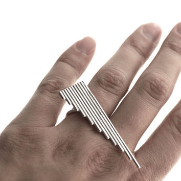 Geometric Statement Ring - Triangle - Sterling Silver - Knuckle - Made to Order
