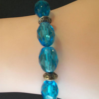 Aqua Blue Beaded Bracelet Oval Faceted Glass Beads Fashion Accessories For Her