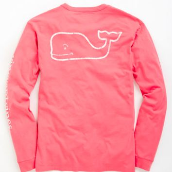 Vineyard Vines Long Sleeve Vintage Whale Graphic Pocket Tee- Lobster Reef