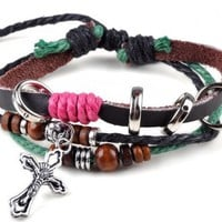 Imixlot Unisex Vintage Beaded Cross PU Leather Charm Adjustable Bracelet