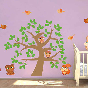 tree wall decals owls wall decals Woodland wall decals for Nursery foliage Wall Decals kids wall decal kcik1789