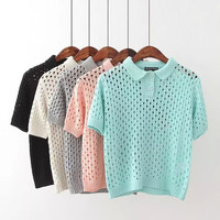 Plain Cutout Button-Up Short-Sleeve Shirt