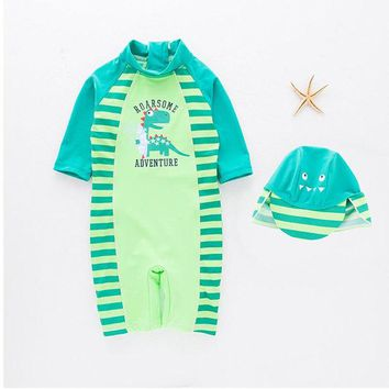 VONEML3 Siamese Swimsuit Baby  Boy Handsome Dinosaur Beach Sunscreen Clothing kids swimwear and cap in one set