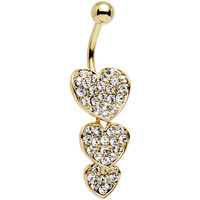 Clear Gem Gold Plated Steel Triple Heart Dangle Belly Ring | Body Candy Body Jewelry