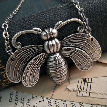 Bumble Bee Necklace Silver Insect by Saout on Etsy
