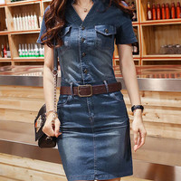 2016 New Casual V Neck Jeans Dress Female Summer Knee Length Vintage Denim Shirt Dress Ladies Elegant Office Dresses Vestidos