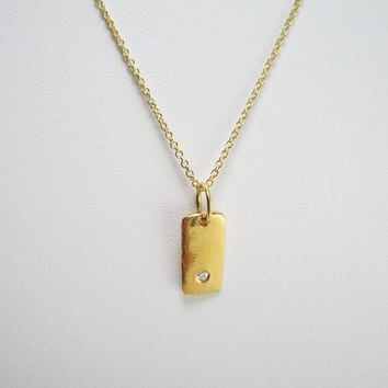 Small Gold Vermeil Bar White Sapphire Layering Necklace - Gold Bar Necklace - Gold Dog Tag Necklace - Gold Layering Necklace