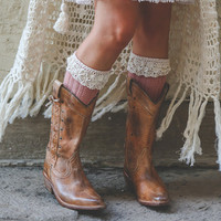 Country Open Knit Lace Boot Socks- Fold over lace