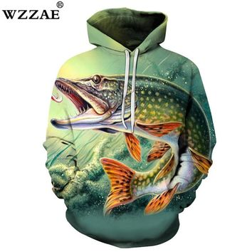Fish Print Hoodies Seaworld 3D Men Tracksuits Sweatshirt Unisex WZZAE Brand Drop Ship Long Sleeve Pullover Summer 2018