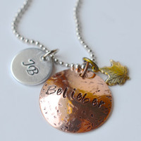 "Justin Bieber ""Belieber"" hand stamped mixed metal necklace with a ""JB"" stamped disc and maple leaf charm"