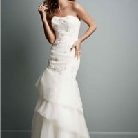 Organza Trumpet Gown with Floral Detail - David's Bridal