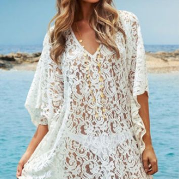 White Lace Crochet Sleeve Beach Cover Up