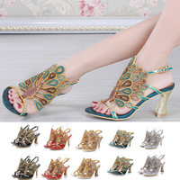 Women sandals,2016 new styles peacock high-heeled shoes thick thin wedges genuine leather rhinestone female sandals GS-L012