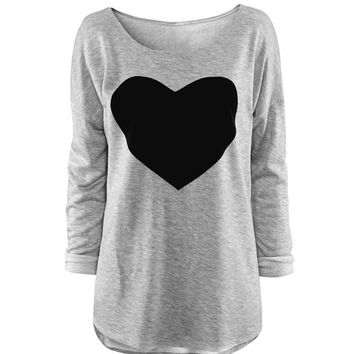 Women's Heart Pattern T-Shirt Long Sleeve Crew Neck Tops VVF = 1828249860