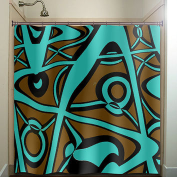 abstract turquoise brown shower curtain bathroom decor fabric kids bath white black custom color curtains