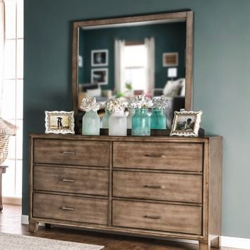 Wolson Contemporary 6-Drawer Dresser and Mirror in Gray