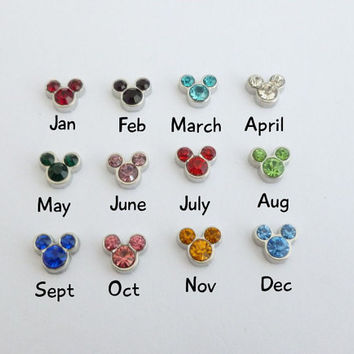Micky Mouse Inspired Birthstone Crystals for Floating Glass Lockets