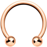 "14 Gauge Rose Gold Circular Horseshoe Barbell 1/2"" 4mm Ball 