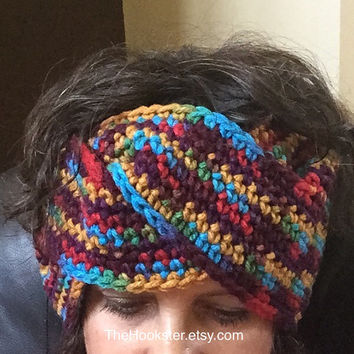 Boho Crochet Twist Ear Warmer Headband in Southwestern Blend, Handmade Crocheted Ear Warmer, Multicolor Ear Warmer, Southwestern Headband