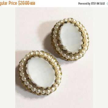 Vintage Gold Tone with Faux Pearls and White Glass Center Earrings West Germany