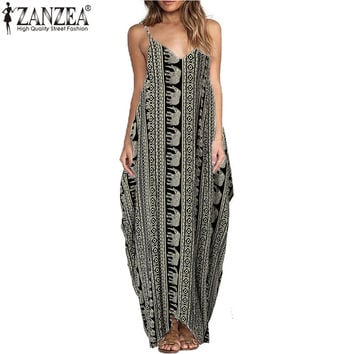 Vestidos 2017 Summer Boho Women Dress Sexy Straps V Neck Star Floral Print Maxi Long Dress Casual Loose Sleeveles Beach Dresses
