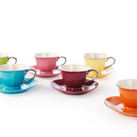 Inside Out Heart Teacups & Saucers, Set of 6, Tea Cups & Saucers