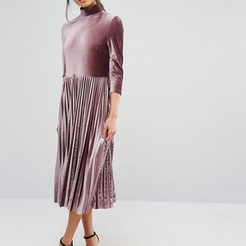 Oasis Pleated Velvet Midi Dress at asos.com