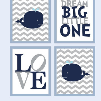 Whale Nursery Art - Baby Boy Nursery Art for Boys Room Decor, Nursery Decoration with LOVE
