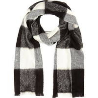 River Island Womens Black plaid check blanket scarf